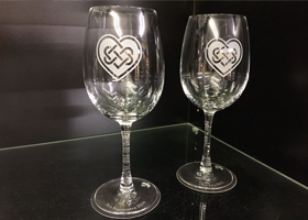 sand blasted wine glass